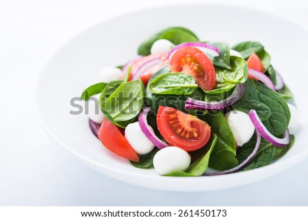 Fresh salad with mozzarella cheese, tomato, spinach and purple onion close up. Healthy food. - stock photo