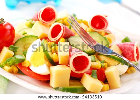 fresh salad with salami,cheese,eggs and vegetables - stock photo