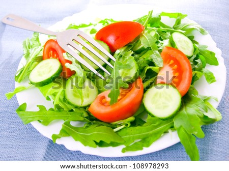Fresh salad with tomatoes, rucola and cucumbers - stock photo