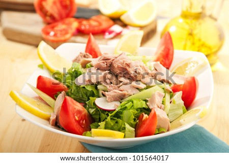 Fresh salad with tuna fish and vegetables - stock photo