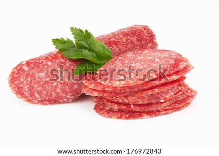 fresh salami isolated on a white background  - stock photo