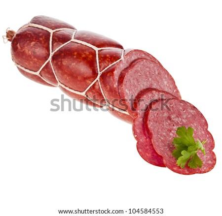 fresh salami  sausage isolated on white background - stock photo