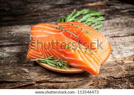Fresh salmon. - stock photo