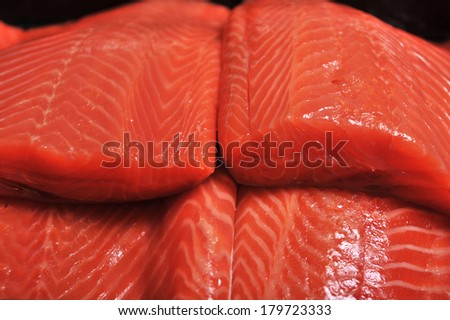 fresh salmon fillet - stock photo