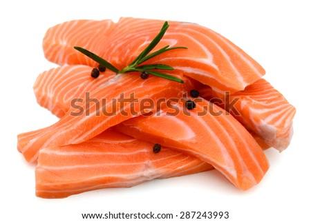 fresh salmon fillet on isolated white - stock photo