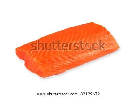 fresh salmon fillet on white background - stock photo