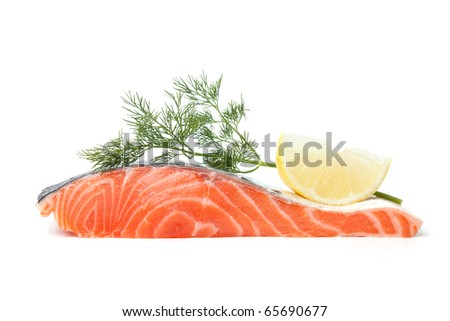 Fresh salmon steak with lemon slice and dill. Isolated on white background - stock photo
