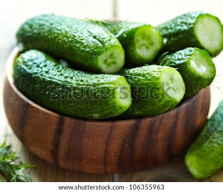 Fresh salted cucumbers - stock photo