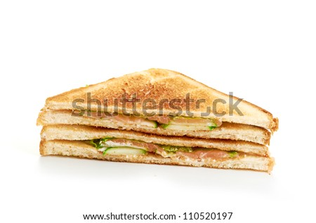 fresh sandwich isolated on a white background - stock photo