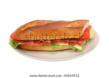 Fresh sandwich on plate isolated over white background - stock photo