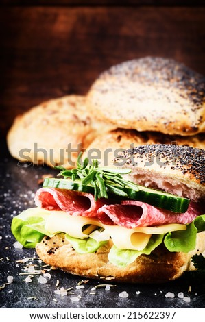 Fresh sandwich with salami and cheese - stock photo