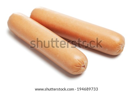 fresh sausages, isolated on a white background - stock photo