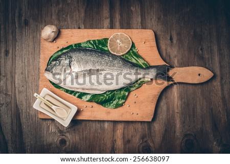 Fresh sea bream fish  - stock photo
