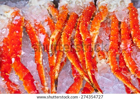 Fresh seafood in fish market - food background - stock photo