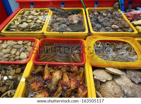 Fresh seafood Market, South Korea. - stock photo