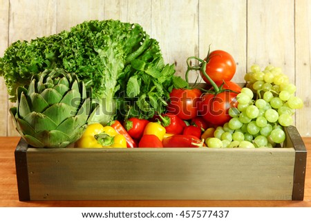 Fresh Selection of Colorful Produce in a Box - stock photo