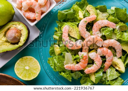 Fresh Shrimp and Avocado Salad with Lemon Zest - stock photo