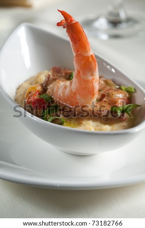 Fresh shrimp etoufee over grits - stock photo