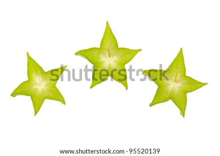 fresh slice carambola isolated on white background - stock photo