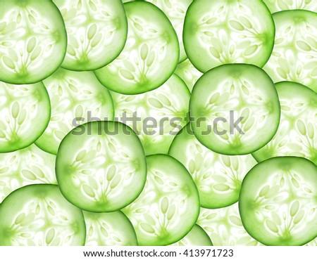 Fresh slice cucumber on background - stock photo