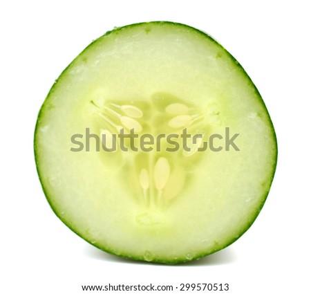 Fresh slice cucumber on white - stock photo