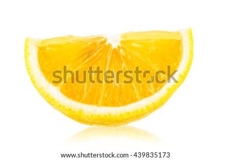 fresh slice lemon isolated on white background - stock photo