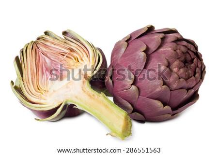 Fresh sliced artichokes - isolated on white background - stock photo
