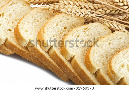 Fresh sliced bread with grain - stock photo