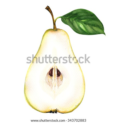 Fresh sliced yellow pear half isolated on white background - stock photo