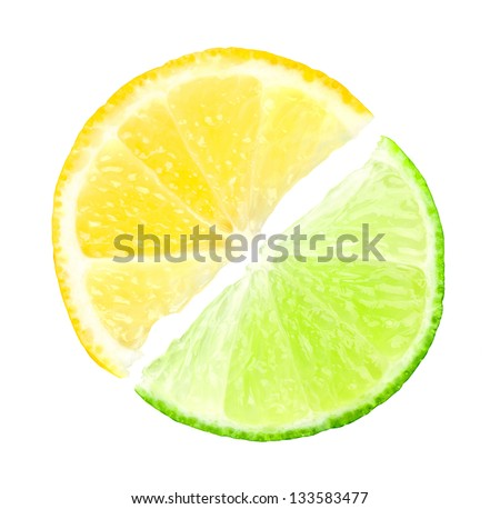 Fresh slices of lime and lemon on white background - stock photo