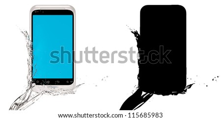 Fresh smartphone! 3D-model of the mobile phone with sensor-screen, poured by water. Isolated on the white. With black mask. - stock photo