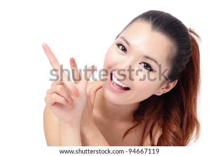 Fresh smiling woman face close up with hand isolated on white background, model is a asian beauty - stock photo