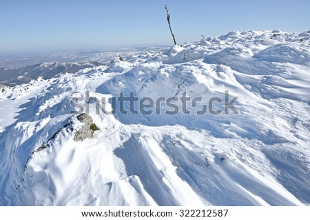 Fresh snow cover, at winter - stock photo