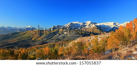 Fresh snow in the southern Wasatch Mountains, Utah, USA. - stock photo