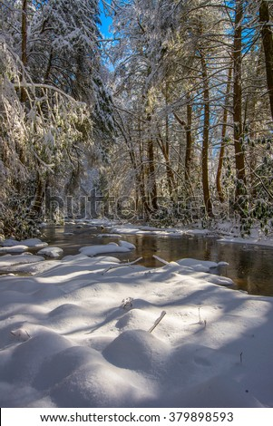 Fresh snow on Martins Fork of the Cumberland River in the Appalachian Mountains of Kentucky - stock photo