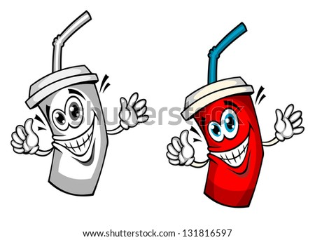 Fresh soda drink with straw in cartoon style. Vector version also available in gallery - stock photo