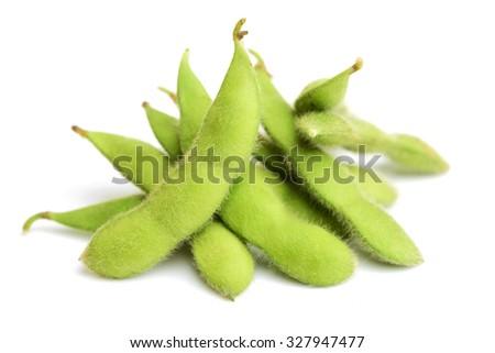 Fresh soybean on white background - stock photo