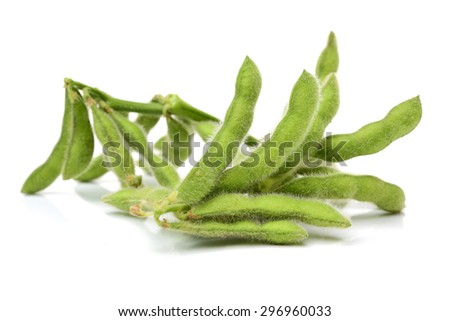 Fresh soybean with pod and leaf - stock photo