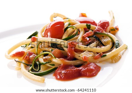 Fresh spaghetti pasta with tomato sauce close up - stock photo