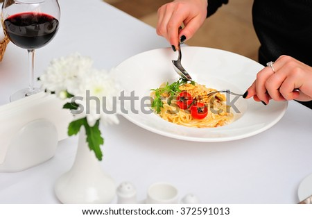Fresh Spaghetti Served With Tomatoes - stock photo
