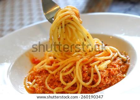 Fresh spaghetti with tomato sauce  - stock photo