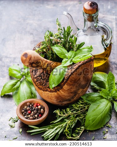 Fresh spicy herbs in olive wood Mortar on dark background - stock photo