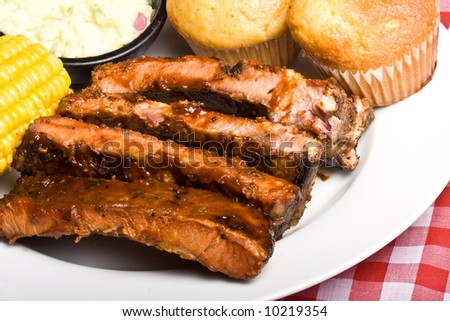 fresh spicy tasty hot off the grill ribs - stock photo