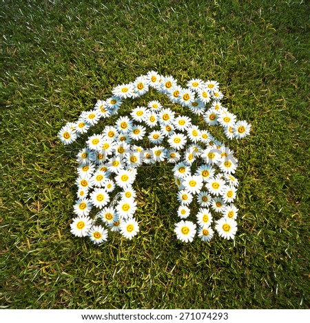 Fresh Spring Daisie flowers in the shape of a house on a field of grass - stock photo