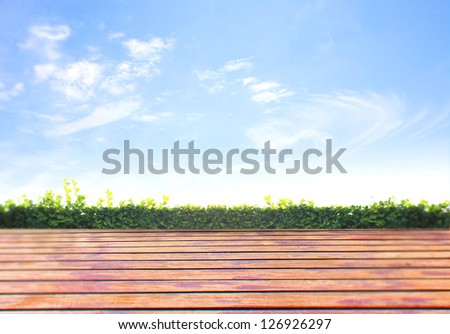 Fresh spring green grass with green bokeh and sunlight and wood floor - stock photo