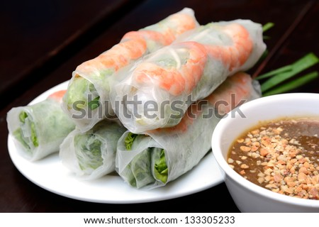 Fresh Spring Roll, Vietnamese Food. - stock photo