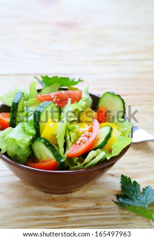 Fresh spring vegetable salad, healthy food - stock photo