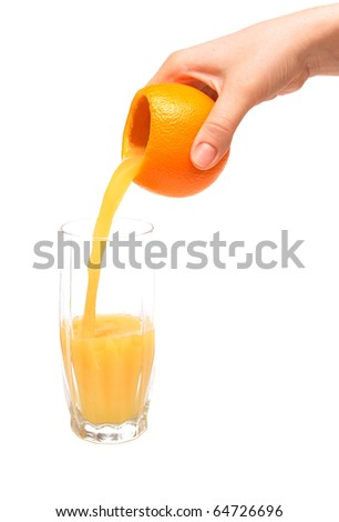 fresh squeezed pouring orange juice isolated on a white background - stock photo