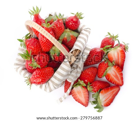 Fresh strawberries in a basket, isolated on white - stock photo