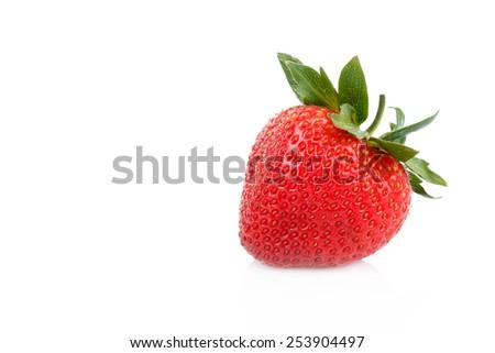 fresh strawberries on white  - stock photo